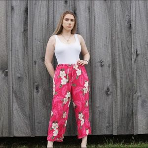 UO pink floral Hawaiian trouser pants cover up md